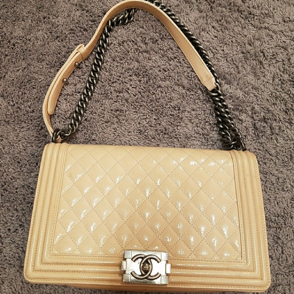 dd871abf8395 CHANEL Bags | Beige Quilted Patent Leather New Med Boybag | Poshmark